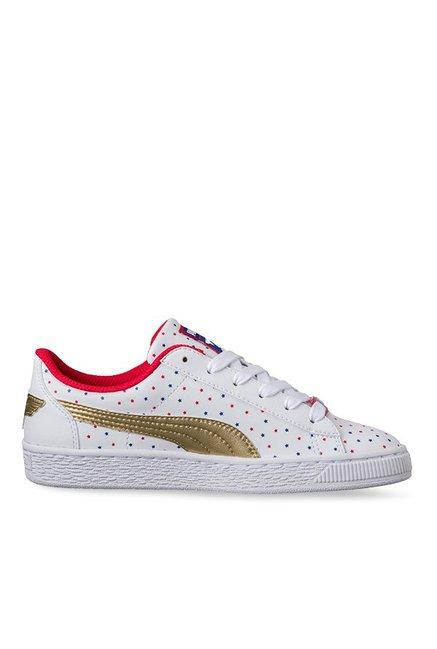 2518acbceca Buy Puma JL Basket Jr Wonder Woman White   Team Gold Sneakers for Girls at Best  Price   Tata CLiQ