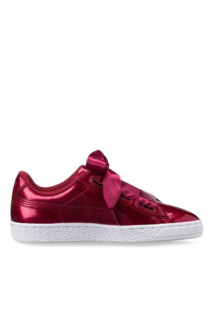 online store 45b73 7d12b Buy Puma Basket Heart Glam Jr Tibetan Red Sneakers for Girls ...