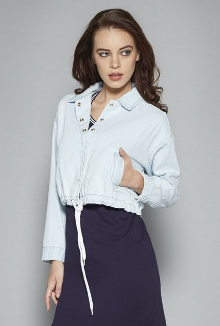ee9c0508c1795 Buy Nuon by Westside Light Blue Anika Jacket for Women Online   Tata CLiQ