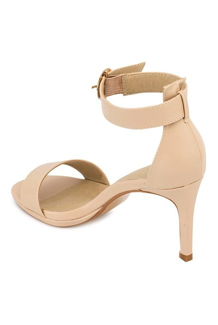 Truffle Collection Nude Ankle Strap Stilettos