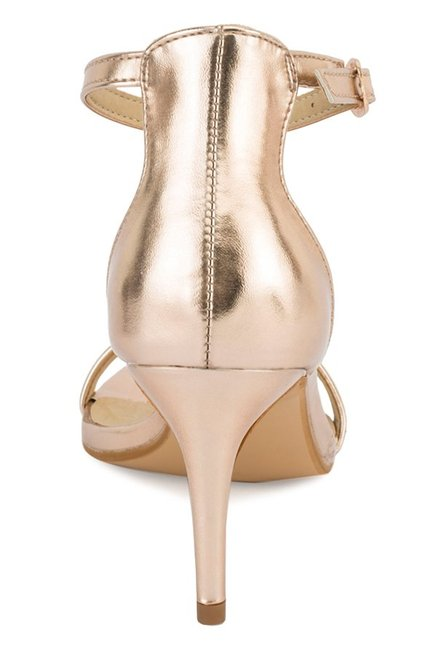 Truffle Collection Rose Gold Ankle Strap Stilettos