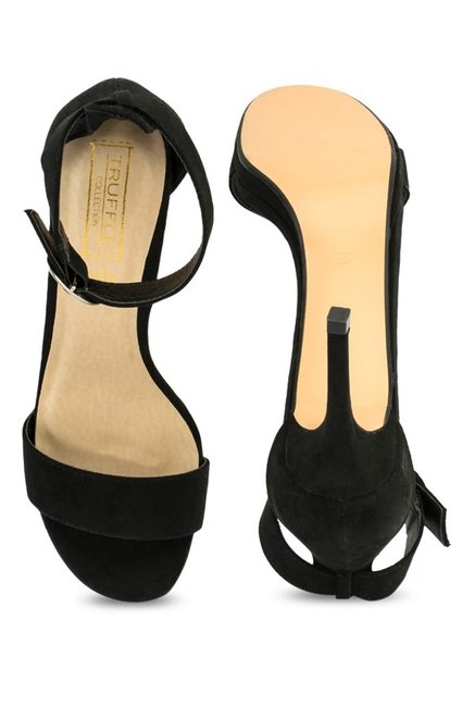 Truffle Collection Black Ankle Strap Stilettos