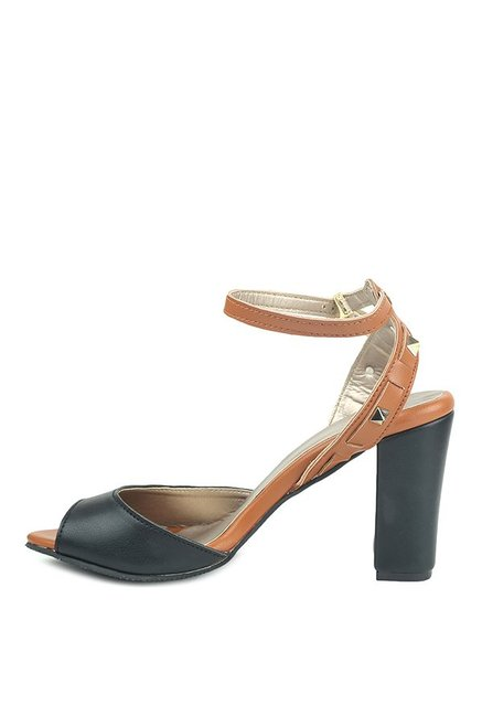 Lovely Chick Black & Tan Ankle Strap Sandals