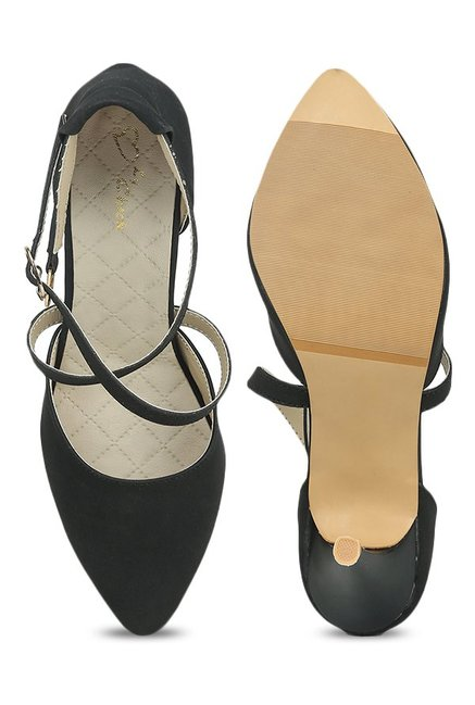Lovely Chick Black Cross Strap D'orsay Stilettos