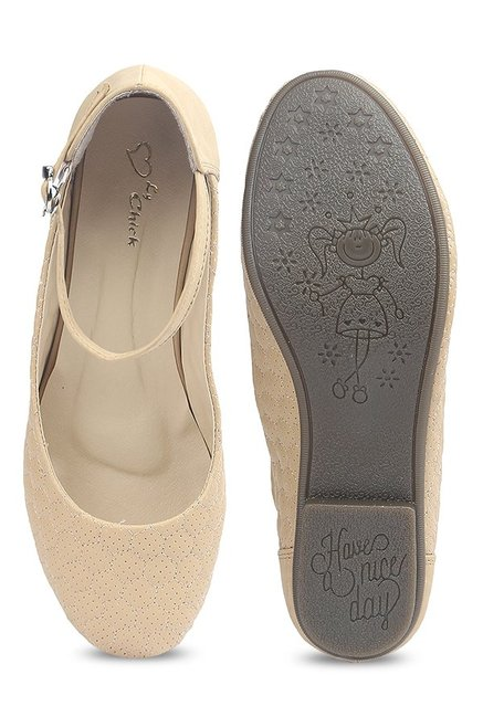 Lovely Chick Beige Ankle Strap Flat Ballets