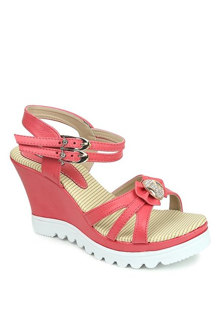 Lovely Chick Red Ankle Strap Wedges