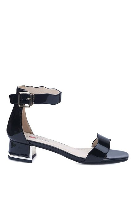 Lovely Chick Black Ankle Strap Sandals