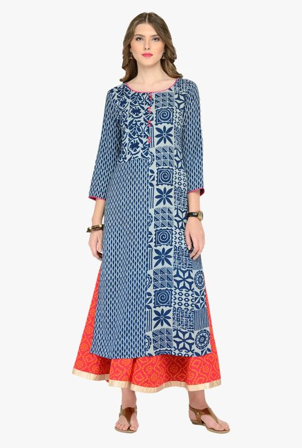 Varanga Blue & Orange Printed Kurta With Palazzos