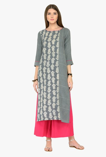 Varanga Grey & Pink Printed Kurta With Palazzos
