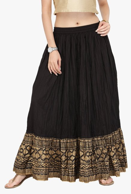 Varanga Black Printed Kurta With Skirt