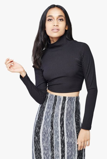 AND Black Striped Crop Top
