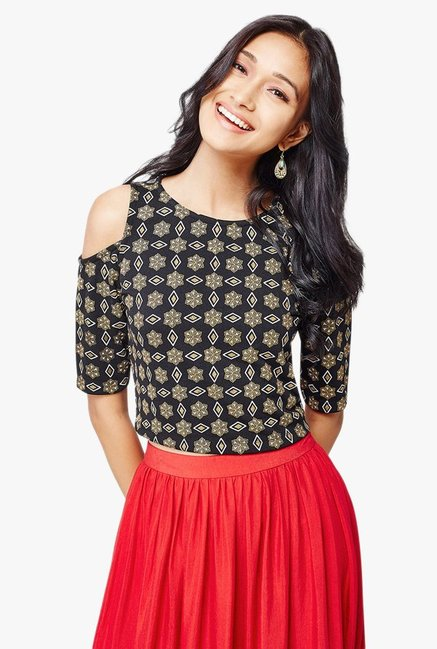 d78db53fb2f Buy Global Desi Black Printed Cold Shoulder Crop Top for Women ...