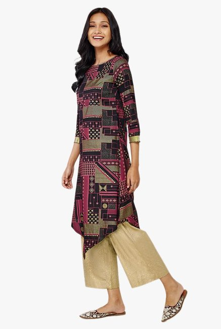 Global Desi Black Printed Asymmetric Kurta