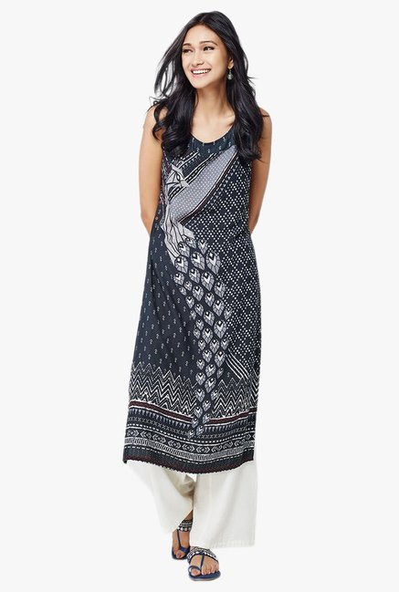 Global Desi Black Peacock Print Kurta