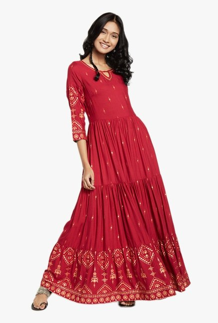 9875cad36 Buy Global Desi Red Printed Maxi Dress for Women Online @ Tata CLiQ