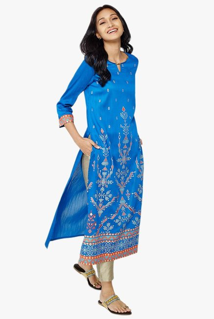 Global Desi Akito Ink Blue Printed Kurta