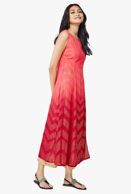Global Desi Tara Front Double Slit Coral Printed Kurta