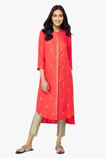 Global Desi Red Printed High Low Kurta