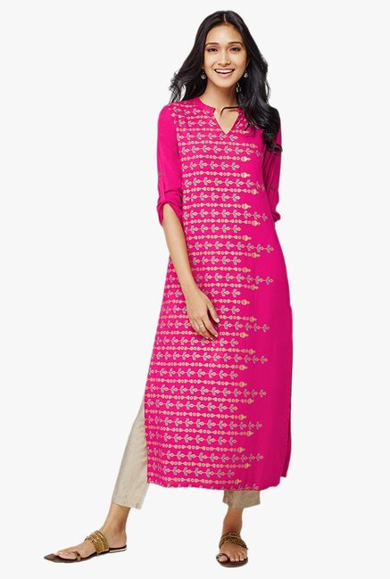 Global Desi Bluma Pink Printed Kurta