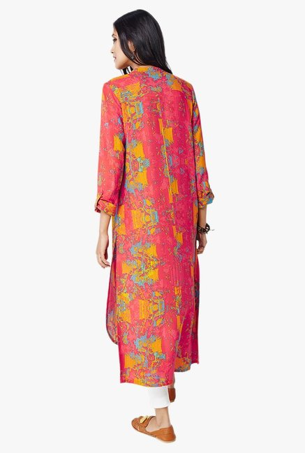 Global Desi Red Printed Button Down Kurta
