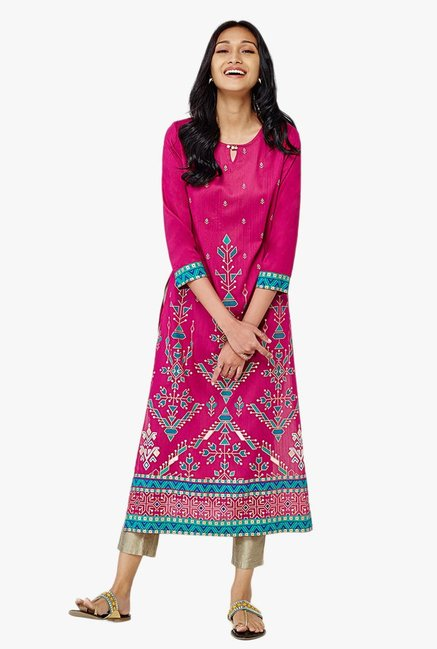 Global Desi Akito Pink Printed Kurta