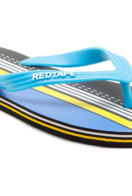Red Tape Blue & Black Flip Flops