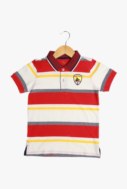 f019c952760c1 Buy Solly By Allen Solly Red   White Striped Polo T-Shirt for Boys ...