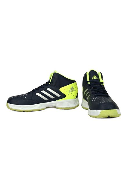 aa80981fc69f Buy Adidas Basecut 16 Navy   Lime Yellow Basketball Shoes for Men at ...
