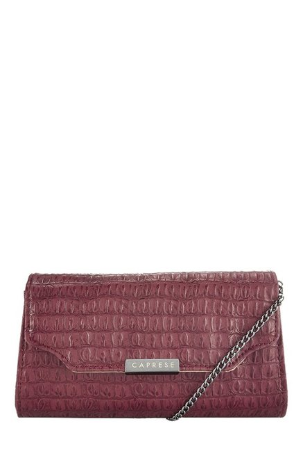 Caprese London Maroon Textured Flap Sling Bag