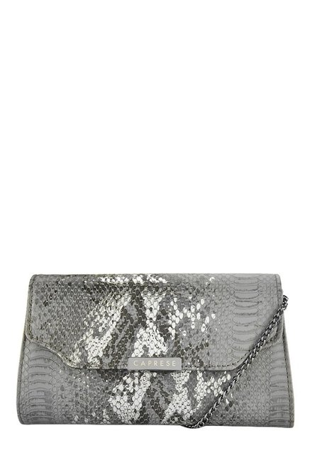Caprese London Grey Textured Flap Sling Bag