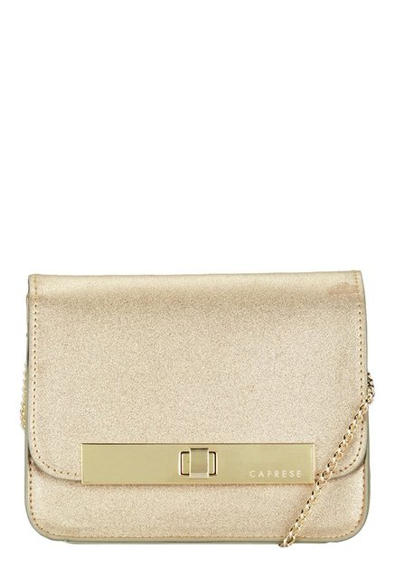 Caprese London Golden Solid Flap Sling Bag