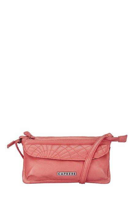 Caprese Vera Coral Pink Stitched Sling Bag