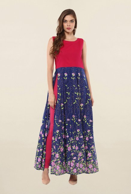 Ahalyaa Blue Printed Cotton Anarkali Kurta