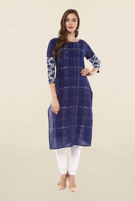 Ahalyaa Blue Printed Cotton Kurta