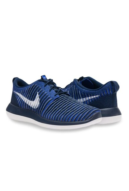 best service ca469 96a3b Buy Nike Roshe Two Flyknit Blue & Navy Running Shoes for Men ...