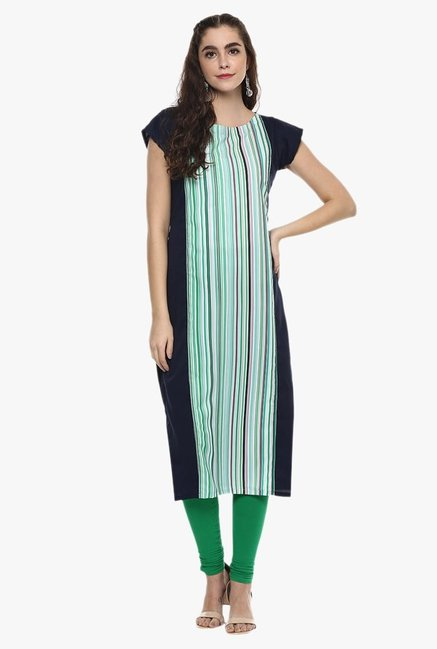 Ziyaa Green & Navy Striped Kurta