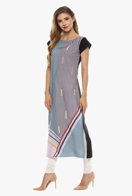 Ziyaa Light Blue & Beige Printed Kurta