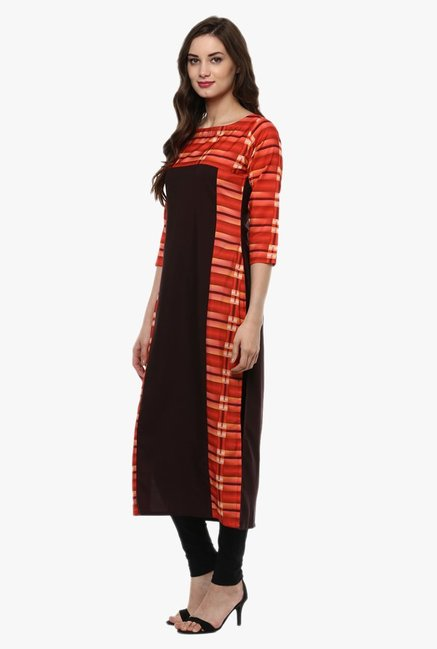 Ziyaa Red & Black Printed Kurta