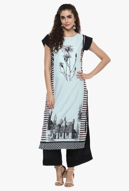 Ziyaa Light Blue Printed Kurta