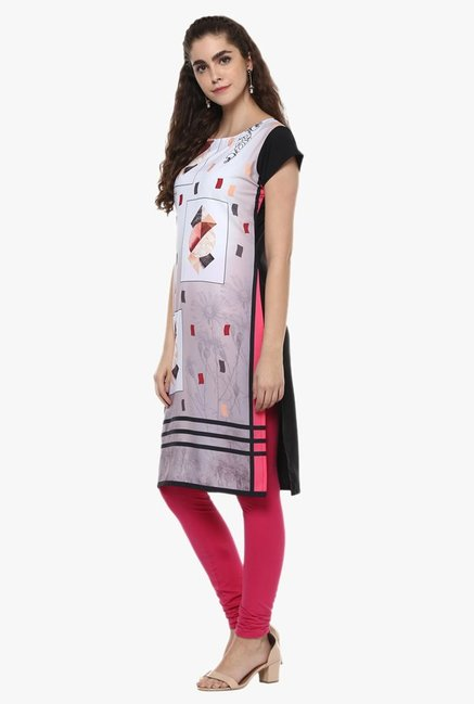 Ziyaa White & Grey Printed Kurta