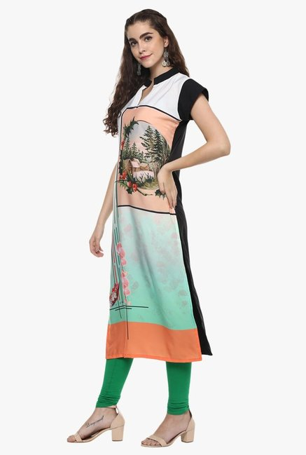 Ziyaa White & Green Printed Kurta