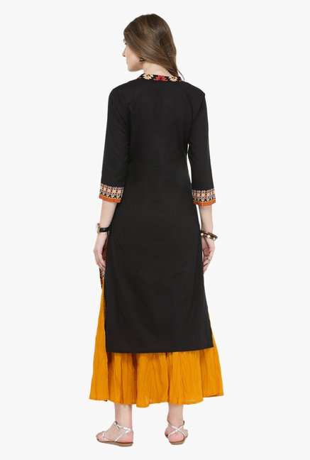 Varanga Black & Mustard Embroidered Kurta With Palazzo