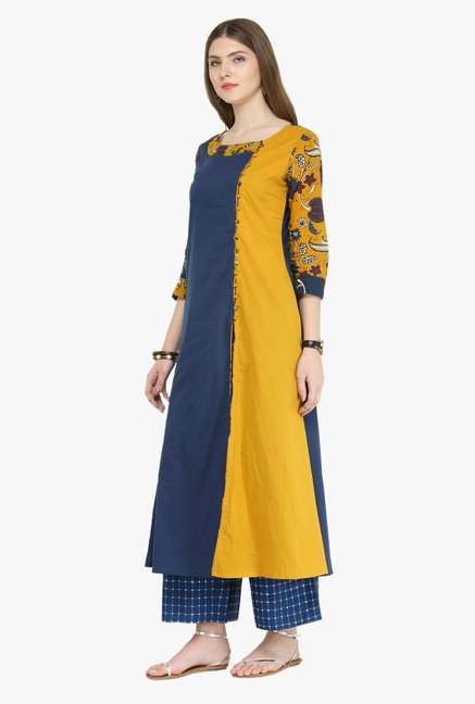 Varanga Blue Printed Cotton Kurta With Palazzo