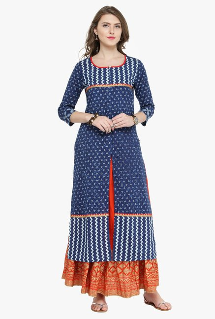Varanga Indigo & Rust Printed Cotton Kurta With Skirt
