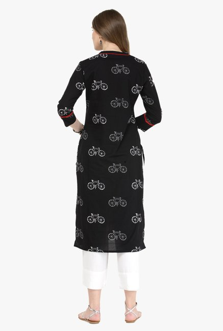 Varanga Black & White Printed Cotton Kurta With Pants