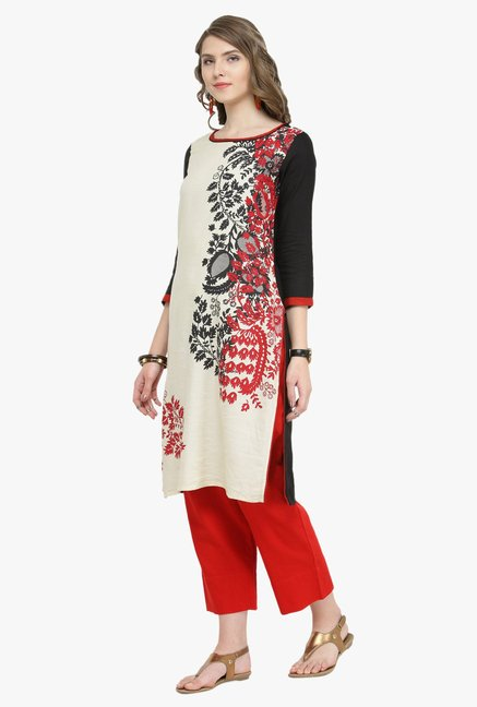 Varanga White & Red Printed Kurta With Pants