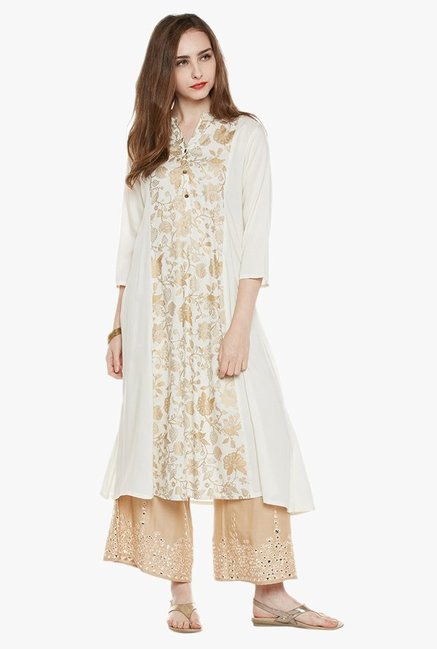 Varanga Off White & Gold Printed Kurta