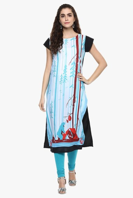 Ziyaa White & Blue Printed Kurta