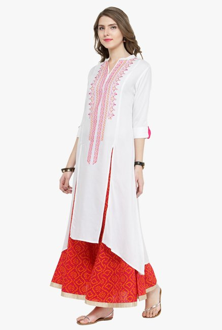 Varanga White Embroidered Kurta