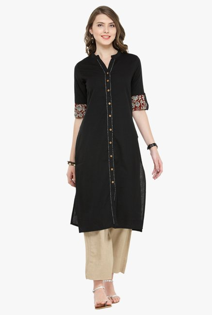 Varanga Black Cotton Kurta